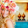 Baroque fashion blonde woman with flowers hat — Stock Photo