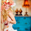 Baroque fashion blond womand drinking red wine — Stock Photo #8701724