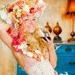 Baroque fashion blond womand drinking red wine - Stok fotoraf