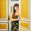 Stock Photo: Elegance fashion woman in hotel room door