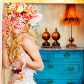 Baroque fashion blond womand drinking red wine — Stock Photo