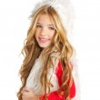 Kid little girl with christmas winter white fur — Stock Photo #8802908