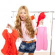 Fashion victim kid girl at backstage wardrobe — Stock Photo