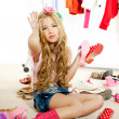 Fashion victim kid girl wardrobe messy backstage — Stock Photo #8803654