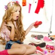 Fashion victim kid girl wardrobe messy backstage — Stock Photo #8803728
