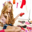 Fashion victim kid girl wardrobe messy backstage — Stock Photo #8803760