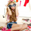Постер, плакат: Fashion victim kid girl wardrobe messy backstage