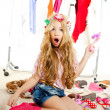 Fashion victim kid girl wardrobe messy backstage — Stock Photo