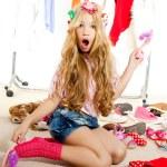 Fashion victim kid girl wardrobe messy backstage — Stock Photo
