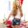 Fashion victim kid girl wardrobe messy backstage — Stock Photo #8804187