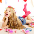 Stock Photo: Fashion victim kid girl wardrobe messy backstage