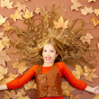 Autumn fall little blond girl on dried tree leaves - Stock Photo