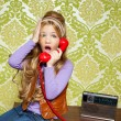 Kid girl retro talking busybody in red telephone — Stock Photo #8806445