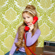 Kid girl retro talking busybody in red telephone — Stock Photo #8806599