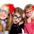 Nerd children girl group with funny glasses — Zdjęcie stockowe