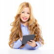 Blond student kid with ebook tablet pc portrait in desk — Stock Photo