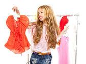 Chica de niño víctima de moda en vestuario entre bastidores — Foto de Stock