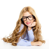 Blond fashion kid girl with glasses portrait on white — Stock Photo