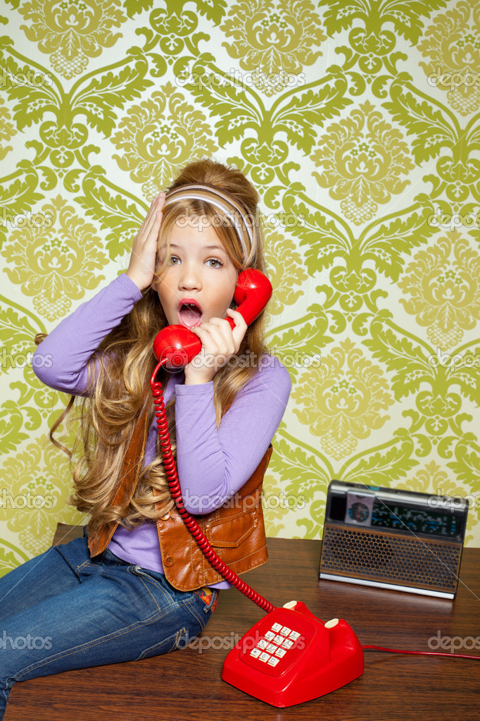 Kid girl retro hip vintage talking busybody with red telephone  Stock Photo #8806445