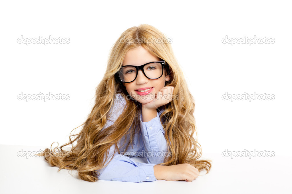 Blond fashion kid girl with glasses portrait isolated on white  Stock Photo #8807885
