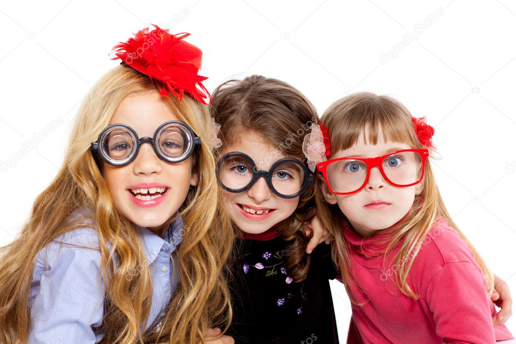 Nerd children girl group with glasses and funny expression  Stock Photo #8808045