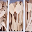 Box with wooden cutlery in beech wood - Stock Photo