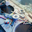 Home improvement  messy clutter with dusted tools — Stock Photo
