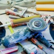 Royalty-Free Stock Photo: Home improvement  messy clutter with dusted tools