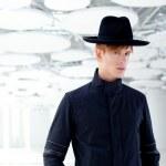 Black far west modern fashion man with hat — Stock Photo