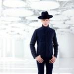 Black far west modern fashion man with hat — Stock Photo #8958387