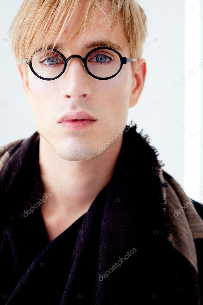 Blond modern handsome student man with nerd glasses portrait  Stock Photo #8958627