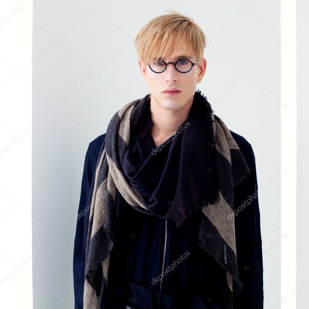 Blond modern handsome student man with nerd glasses portrait — Stock Photo #8958810