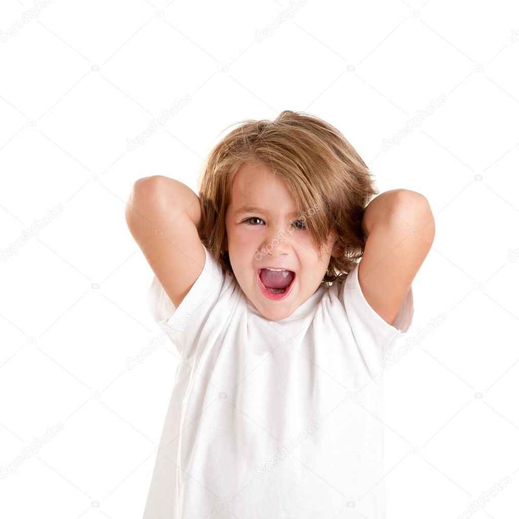Children kid laughing happy with arms up isolated on white — Stock Photo #8959204
