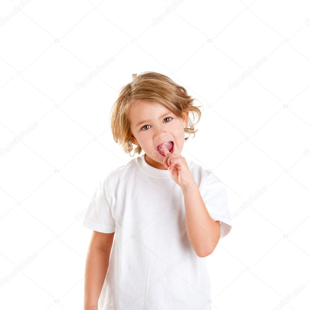 Children kid with tooth ache and finger in pain teeth on white — Stock Photo #8959413