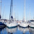 Blue sea boats moored in mediterranean marina — Stock Photo #8962108