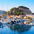 Denia mediterranean port village with castle — Stock Photo