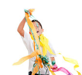 Children kid in a party with messy colorful paper — Stock Photo