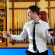 Billiard handsome young man with shirt cue and tie — Stock Photo #9854595