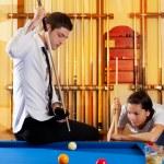 Couple playing billiard expertise teacher — Stock Photo