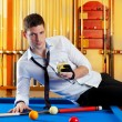 Billiard handsome player man drinking alcohol — Stock Photo #9855645