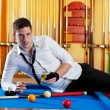 Stock Photo: Billiard handsome player man drinking alcohol