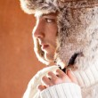 Autumn winter man with brown fur cup hat — Stock Photo