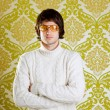Retro man vintage glasses and turtleneck sweater — Stock Photo #9858015