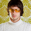 Retro man vintage glasses and turtleneck sweater — Stock Photo #9858093