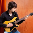 British indie pop rock look young musician guitar player — Stock Photo #9858793