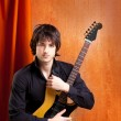 British indie pop rock look young musician guitar player — Stock Photo