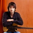 British indie pop rock look young musician guitar player — Stock Photo #9858889