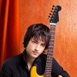 British indie pop rock look young musician guitar player - Foto Stock