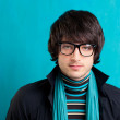 Nerd retro british indie look with handkerchief - Stock Photo