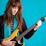 Hard rock seventies electric guitar player man — Stock Photo #9859415